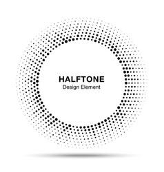 abstract circle frame halftone random dots emblem vector image vector image