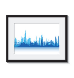 blue cityscape boarder vector image vector image