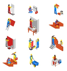 Builder icons set vector