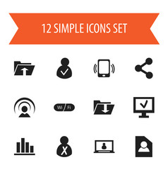 Set of 12 editable network icons includes symbols vector
