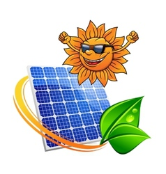 Trendy sun with a solar photovoltaic panel vector image