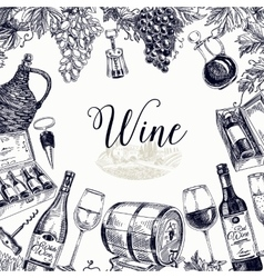 Wine hand drawn vector image vector image