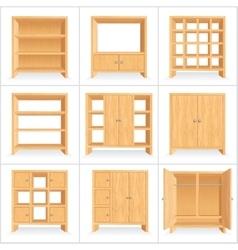 Wooden Wardrobe Cabinet Bookshelf vector image vector image