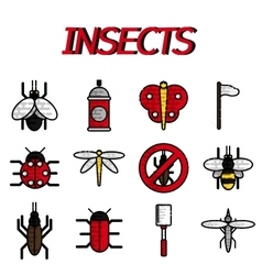 Insects flat icons set vector image