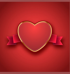 label tag ribbon with valentines day vector image