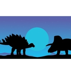 Stegosaurus and triceratops scenery of silhouettes vector
