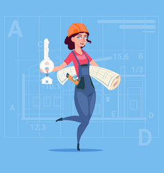Cartoon female builder holding key from new house vector