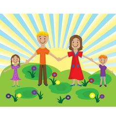 family on the lawn vector image