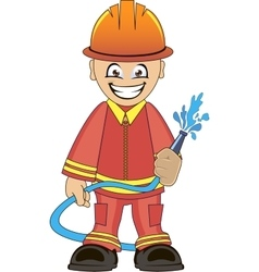 Firefighter in uniform with fire hose vector image vector image