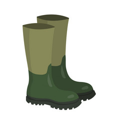green rubber hunters and fisherman high boots vector image