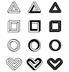 imposible shapes vector image vector image