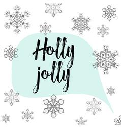 Christmas calligraphy holly jolly hand drawn vector