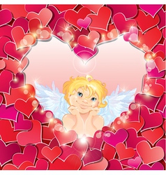 Cute angel in the heart shape frame vector image vector image