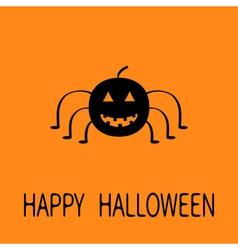 Cute cartoon black smiling pumpkin spider insect vector image