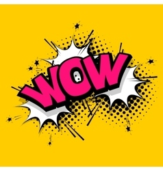 Lettering wow emotion comics book balloon vector image