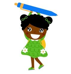 Little cute dark skin girl holding pen vector image vector image