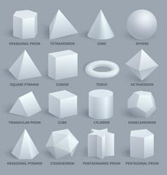 realistic white basic 3d shapes set vector image