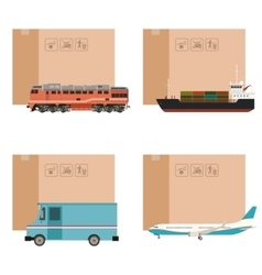 Set of cargo transportation with boxes vector image
