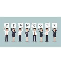 Teamwork businessmen and businesswomen vector
