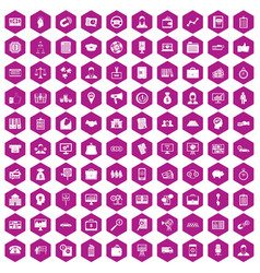 100 business group icons hexagon violet vector image
