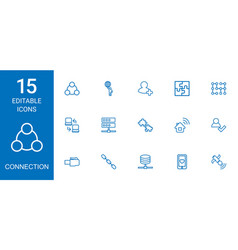 15 connection icons vector
