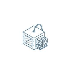 3d printer isometric icon line art technical vector