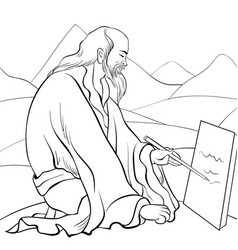 A children coloring bookpage a painter on the vector
