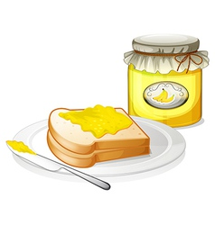 A plate with a bread and a jar of banana jam vector image