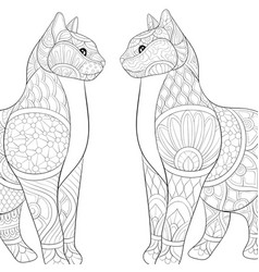 Adult coloring bookpage two lovely cats vector
