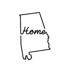 Alabama us state outline map with the handwritten vector