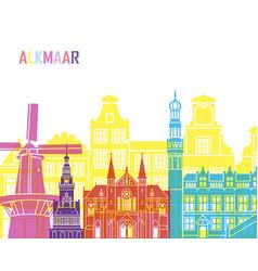 alkmaar skyline pop vector image