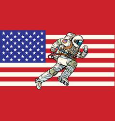 American astronaut patriot runs forward usa flag vector