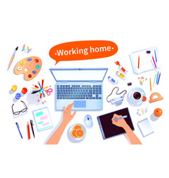Artists workplace set vector