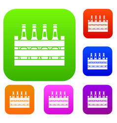 Beer wooden box set collection vector