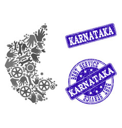 Best service collage of map of karnataka state and vector