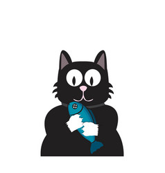 black cat with fish vector image