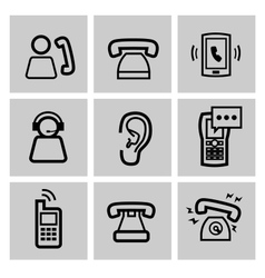 black phone icons set vector image