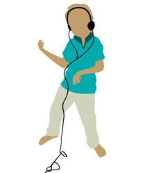 boy playing air guitar and dancing vector image