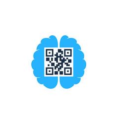 brain barcode logo icon design vector image