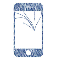 Broken smartphone screen fabric textured icon vector