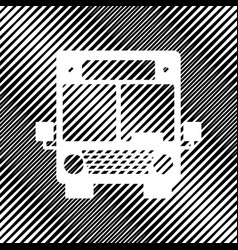 Bus sign icon hole in moire vector