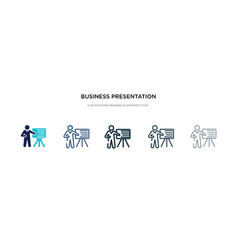 Business presentation icon in different style vector