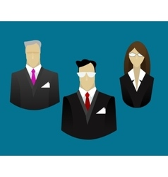 Businessmen and businesswoman icons vector