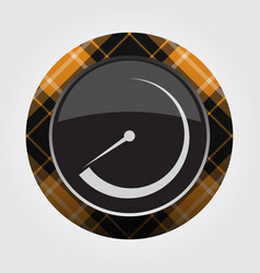 Button with orange black tartan - dial symbol vector