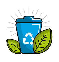 Can of recycling with leaves icon vector