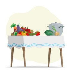 cartoon hand drawn vegetables and pot on table vector image