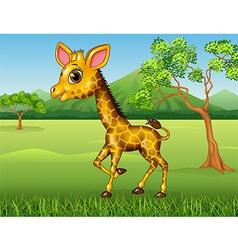 Cartoon Happy giraffe in the jungle vector