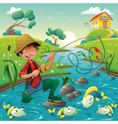 Cartoon scene with fisherman and fish vector