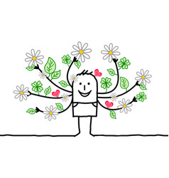 Cartoon spring man with flowering arms vector