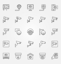 cctv icons set - camera concept line vector image